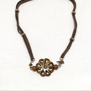 Jewelry - Vintage Brown Beads on Leather Necklace